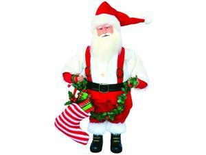 "15"" Nostalgic Santa Claus Christmas Figure with Holly Garland and Stocking"