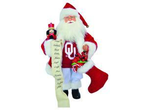 NCAA Oklahoma Sooners Santa Claus Christmas Figure with Nutcracker and Stocking