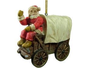 """3.75"""" Santa Claus on a Country Western Covered Wagon Christmas Ornament"""