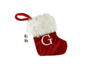 """7"""" Red & White """"G"""" Embroidered Mini Christmas Tree Stocking"""