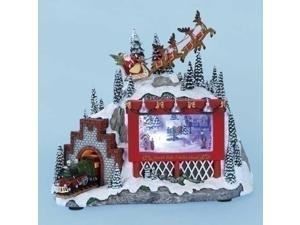 "8.25"" Amusements Lighted Musical Animated Santa, Billboard and Train Christmas Scene Decoration"