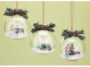 """4.25"""" Red Brick House Winter Scene with Twig & Pine Cone Christmas Ball Ornament"""