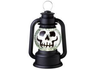 "9.5"" Black Speckled Skeleton Lighted Glitterdome Lantern Table Top Halloween Decoration"