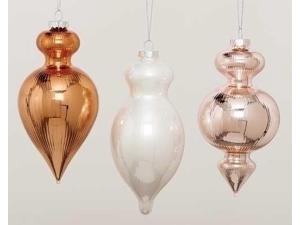 "5.5"" Shiny Pink Blush Ribbed Glass Finial Christmas Ornament"