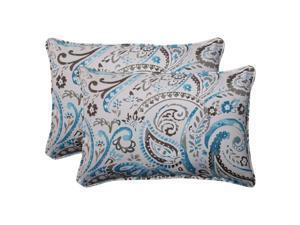 "Set of 2 Turquoise & Gray Paisley Swirl Outdoor Patio Rectangular Pillows 24.5"""