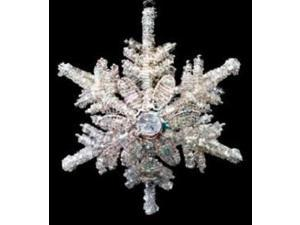 """Jeweled Snowflake with Flower Tealight Hanging Christmas Ornament 6.5"""""""
