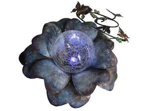 """15"""" LED Lighted Solar Powered Blue Flower Garden Lawn Stake"""