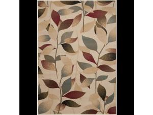 3' x 8' Summer Leaves Tan, Steel Blue and Ruby Red Shed-Free Area Throw Rug