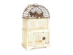 Set of 2 Cream and Rust Wood with Metal Decorative Butterfly Accent Bird Cages 16""