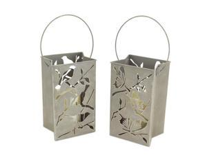 Pack of 4 Battery Operated LED Flameless Candle Lantern Luminaries with Birds and Butterflies 9""