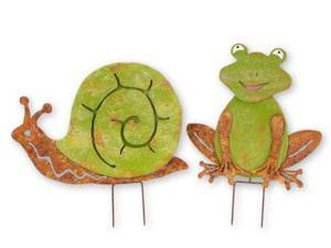 Pack of 4 Green and Brown Snail and Frog Garden Stakes 14""