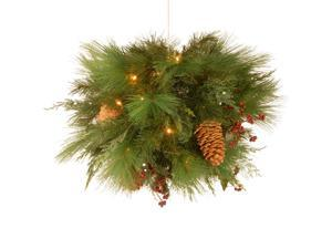 """20"""" Pre-lit Battery-Operated White Pine Artificial Christmas Kissing Ball - Warm Clear LED Lights"""