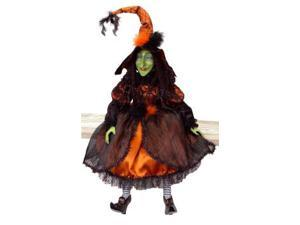 """Whimsical Orange and Black Posable Halloween Witch Decorations 36"""""""