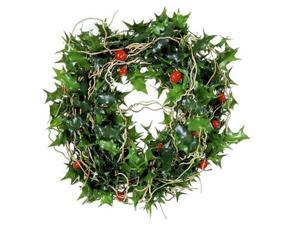 9' Mini Holly and Red Berry Artificial Christmas Garland - Unlit