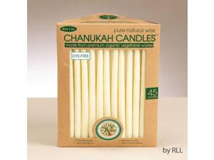 "Club Pack of 45 Ivory Eco-Friendly Pure Natural Wax Chanukah Hanukkah Premium Candles 5"""