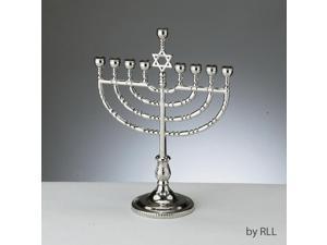 "8.75"" Elegant Silver Tone Finished Chanukah Hanukkah Traditional Menorah"