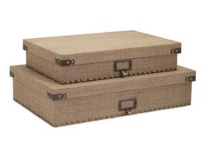 "Set of 2 Kortana Industrial Style Burlap Lidded Document Storage Boxes 18.5"""
