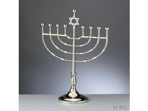 "11.5"" Large Traditional Style Silvertone Chanukah Hanukkah Traditional Menorah"