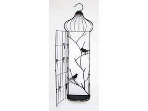Set of 2 Birdcage Hanging Rectangle Wall Piece with Clips and Birds Black 38""