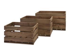"Set of 3 Aaralyn Casual Slat Fir Wood Walnut Finish Storage Crates 21.5"""