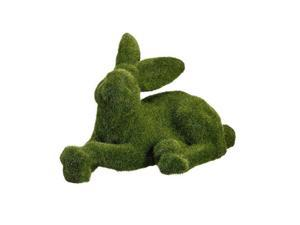 """11"""" Green Moss Covered Laying Bunny Rabbit Spring Easter Table Top Figure"""