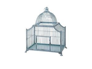 """28"""" Distressed Robin's Egg Blue Dome Shaped Wire Song Bird Cage Decoration"""