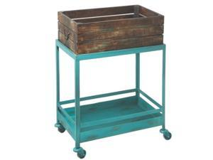 """22"""" Rustic Distressed Wooden Crate on Turquoise Blue Iron Rolling Cart"""