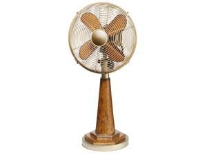 """24"""" Stylish Vintage Gold Base and Neck with Brown Wood-Grain Body Oscillating Table Top Fan"""