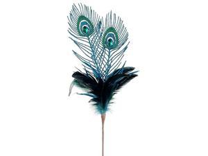 """25"""" Regal Peacock Feather, Glitter and Faux Jewel Christmas Floral Spray"""