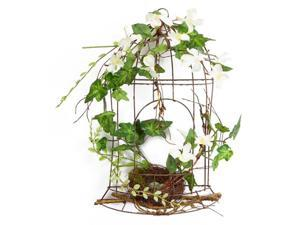 "14"" White Artificial Dogwood Flowers and Ivy Table Top Birdcage Decoration"