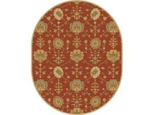 8' x 10' Grecian Arms Rust Red, Khaki Tan and Olive Green Oval Wool Area Throw Rug