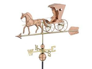 "26"" Polished Copper Country Doctor Horse and Carriage Outdoor Weathervane with Arrow"