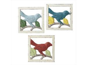 Pack of 6 Distressed Sky Blue, Teal and Maroon Cast Iron Birds on a Branch Trivets