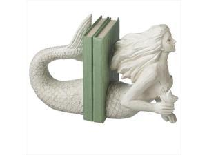 Set of 2 Ivory White Contemporary Nautical Mermaid Bookends 11""