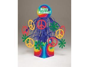 "Pack of 6 Multi-Colored Tie Dye Fun ""Happy Birthday!"" Mini Cascade Centerpieces 13.5"""