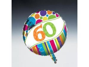 """Club Pack of 12 Bright and Bold """"60"""" Metallic Foil Party Balloons 18"""""""