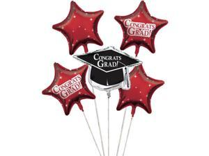 """Club Pack of 12 Classic Red Metallic Foil """"Congrats Grad"""" Graduation Day Party Balloon Clusters"""