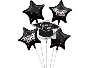 """Club Pack of 12 Black Metallic Foil """"Congrats Grad"""" Graduation Day Party Balloon Clusters"""