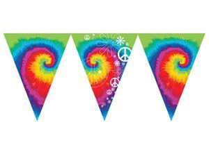 """Pack of 6 Multi-Color Tie Dye Fun Flag Banners With Peace Signs and Flowers 12"""""""