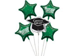 "Club Pack of 12 Emerald Green Metallic Foil ""Congrats Grad"" Graduation Day Party Balloon Clusters"