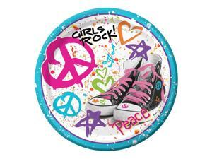 "Club Pack of 96 Totally 80's ""Girls Rock!"" Disposable Paper Premium Strength Party Dinner Plates 9"""