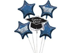 "Club Pack of 12 True Blue Metallic Foil ""Congrats Grad"" Graduation Day Party Balloon Clusters"