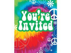 """Club Pack of 96 Multi-Colored Retro Tie Dye Fun Party Invitations 5"""""""