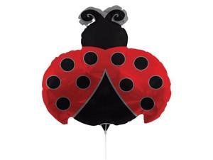 """Pack of 10 Metallic Ladybug  Red and Black Foil Party Balloons with Sticks 30"""""""