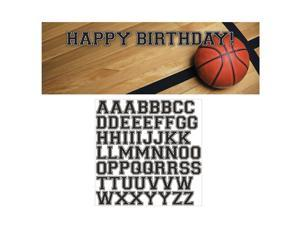 """Pack of 6 Sports Fanatic Basketball Giant Plastic Party Banners with Alphabet Stickers 60"""""""
