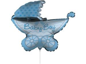 """Pack of 10 Metallic """"Baby Boy"""" Blue Stroller Foil Party Balloons with Sticks 30"""""""