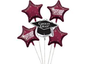 """Club Pack of 12 Burgundy Red Metallic Foil """"Congrats Grad"""" Graduation Day Party Balloon Clusters"""