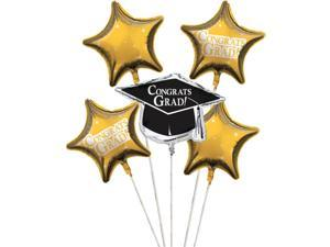 """Club Pack of 12 School Bus Yellow Metallic Foil """"Congrats Grad"""" Graduation Day Party Balloon Clusters"""