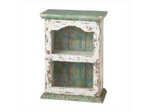 """18.5"""" Ivory White and Jade Green Distressed Finish Desktop Cabinet"""