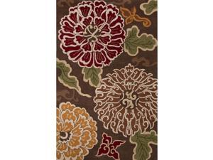 8' x 10' Brown and Orange Floral Patterned Shanghai Hand Tufted Wool Area Throw Rug